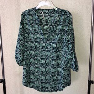 Lovely navy and teal blouse